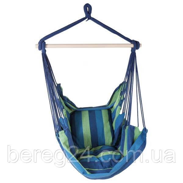 Сидячий гамак подвесной, ширина 95 см, до 130 кг, х/б, синий, две подушки