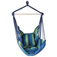 Сидячий гамак подвесной, ширина 95 см, до 130 кг, х/б, синий, две подушки, фото 1