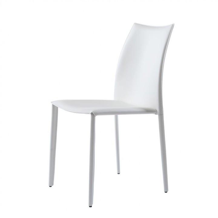 Обеденный стул GRAND (Гранд) белая кожа от Concepto, штабелируется