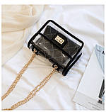 Женская классическая прозрачная сумочка на цепочке через плечо черная, фото 6