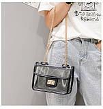 Женская классическая прозрачная сумочка на цепочке через плечо черная, фото 7