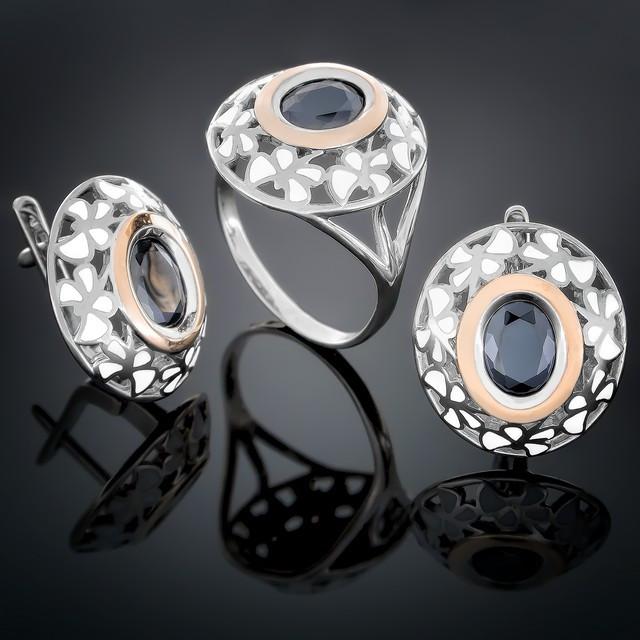 Женский комплект украшений 390 Черный Rhodium