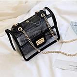 Женская классическая прозрачная сумочка на цепочке через плечо черная, фото 2