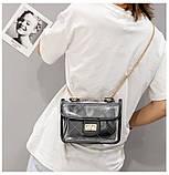 Женская классическая прозрачная сумочка на цепочке через плечо черная, фото 9