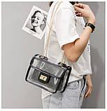 Женская классическая прозрачная сумочка на цепочке через плечо черная, фото 10