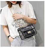 Женская классическая прозрачная сумочка на цепочке через плечо черная, фото 4