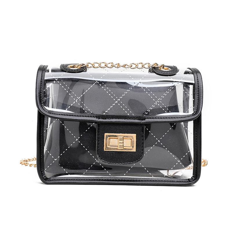 Жіноча класична прозора сумочка на ланцюжку чорна 21х25х10 см