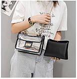 Женская классическая прозрачная сумочка на цепочке через плечо черная, фото 5
