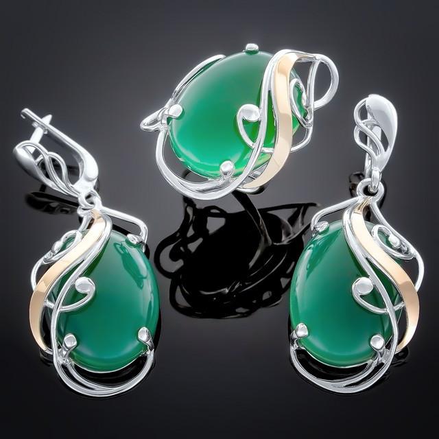 Женский комплект украшений 295 Агат зеленый Rhodium