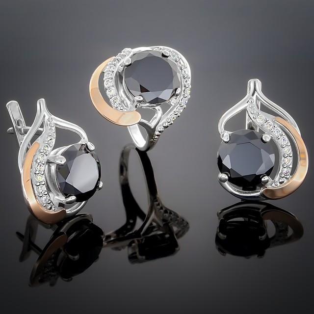 Женский комплект украшений 301 Черный Rhodium