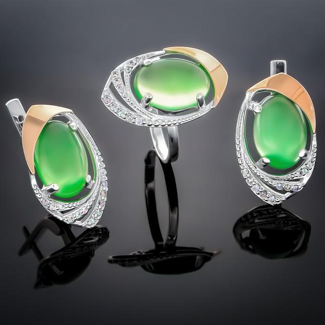 Женский комплект украшений 305 Агат Зеленый Rhodium