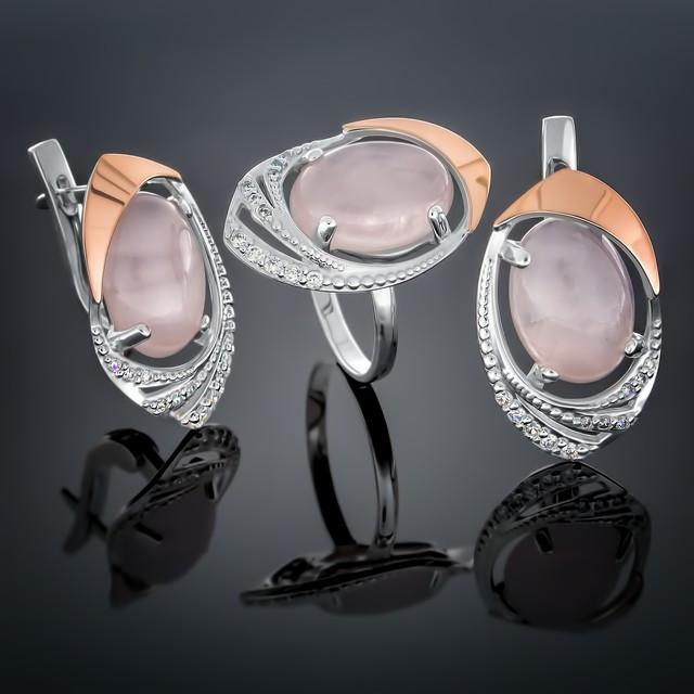 Женский комплект украшений 305 Кварц Розовый Rhodium