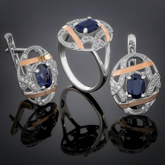 Жіночий комплект прикрас 388 Альпініт Синій Rhodium
