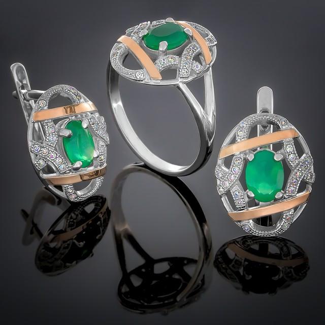 Женский комплект украшений 388 Агат Зеленый Rhodium