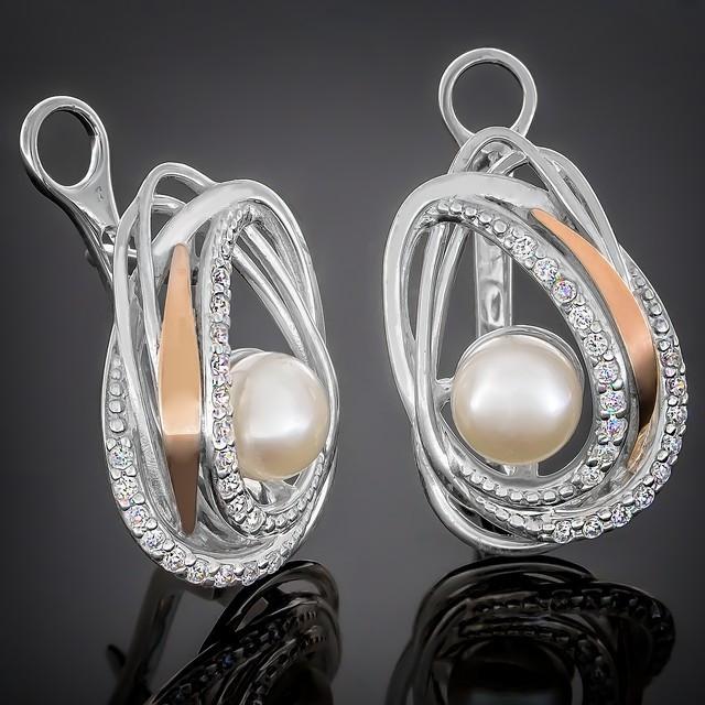 Сережки 387 Pearl White Rhodium