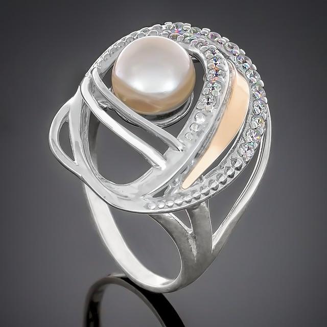Колечко 387 Pearl White Rhodium