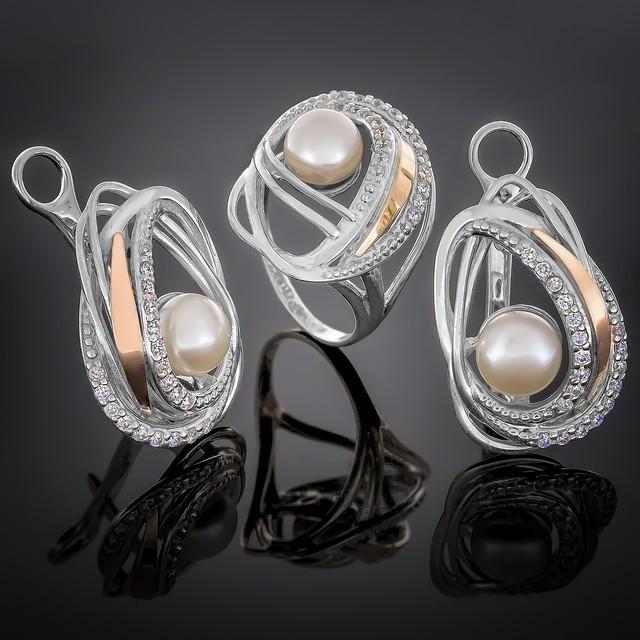 Женский комплект украшений 387 Pearl White Rhodium