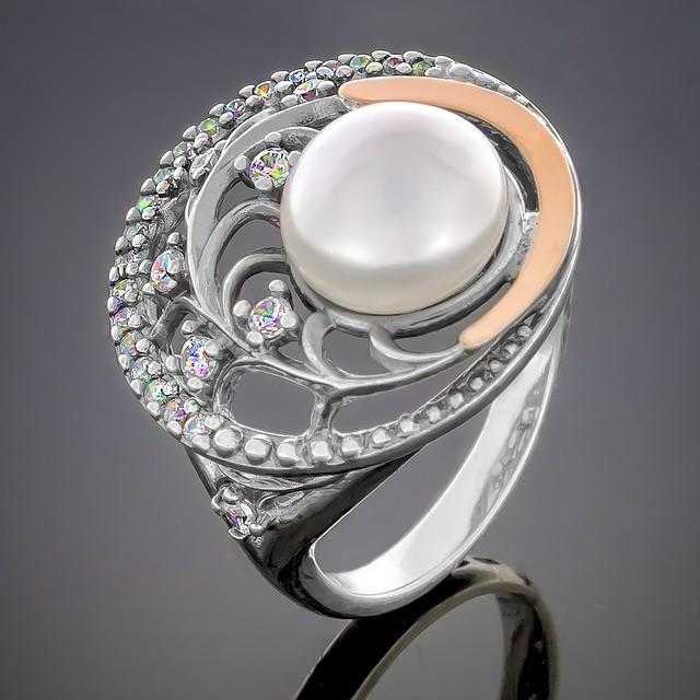 Колечко 386 Pearl White