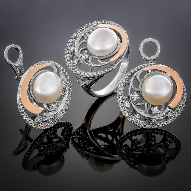 Жіночий комплект прикрас 386 Pearl White