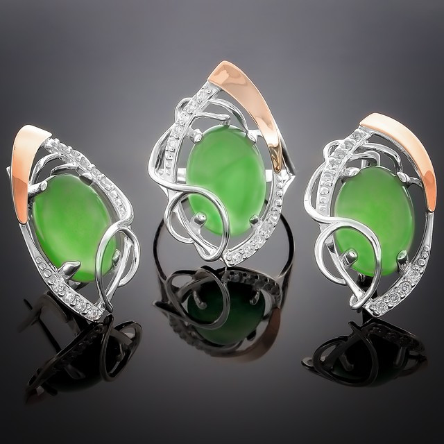 Женский комплект украшений 309 Агат Зеленый Rhodium