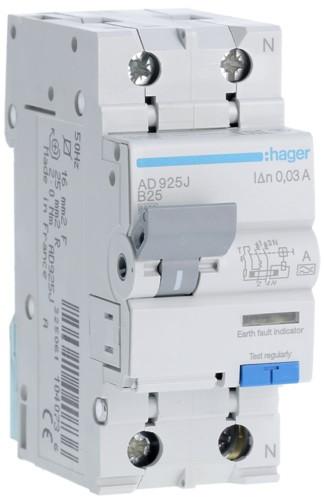 Диференційний автоматичний вимикач 1+N, 25A, 30 mA, B, 6 КА, A, AD925J