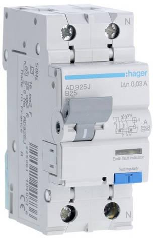 Диференційний автоматичний вимикач 1+N, 25A, 30 mA, B, 6 КА, A, AD925J, фото 2