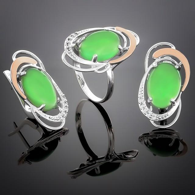 Женский комплект украшений 313 Агат Зеленый Rhodium