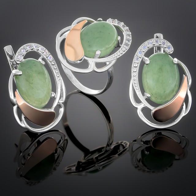 Женский комплект украшений 314 Авантюрин Зеленый Rhodium