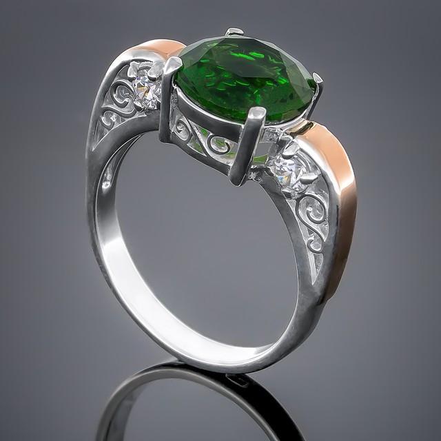 Колечко 384 Альпініт Зеленый Rhodium
