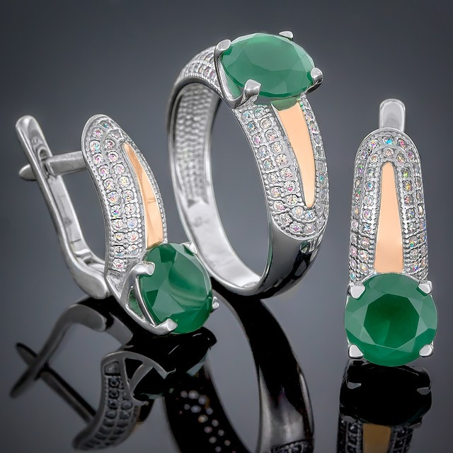 Женский комплект украшений 486 Агат Зеленый Rhodium