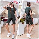 Спортивный костюм женский летний футболка+шорты, разные цвета р.42-44,46-48 код 466А, фото 4