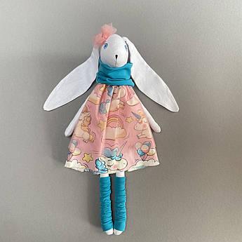 Зайка мягкая игрушка Светло-розовый текстиль 43 см