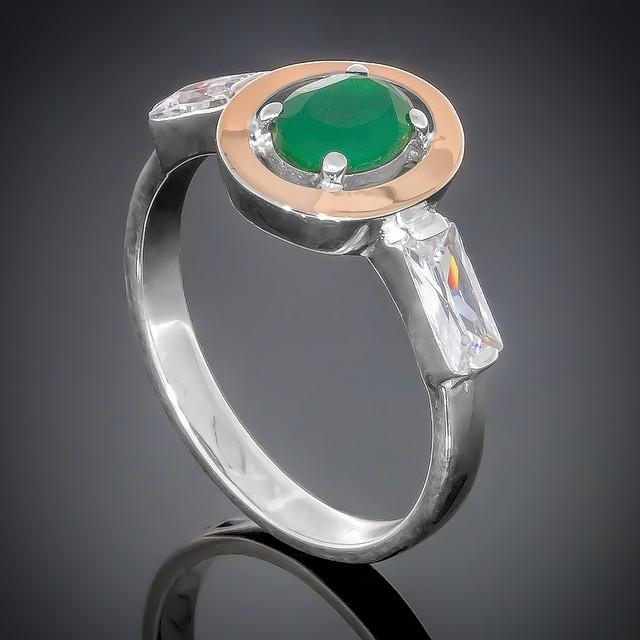 Колечко 381 Агат Зеленый-Белый Rhodium