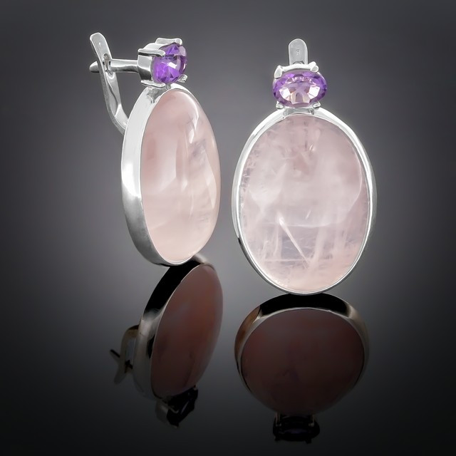 Серьги 100 Аметист/Кварц розовый Rhodium