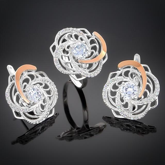 Женский комплект украшений 349 Белый Rhodium