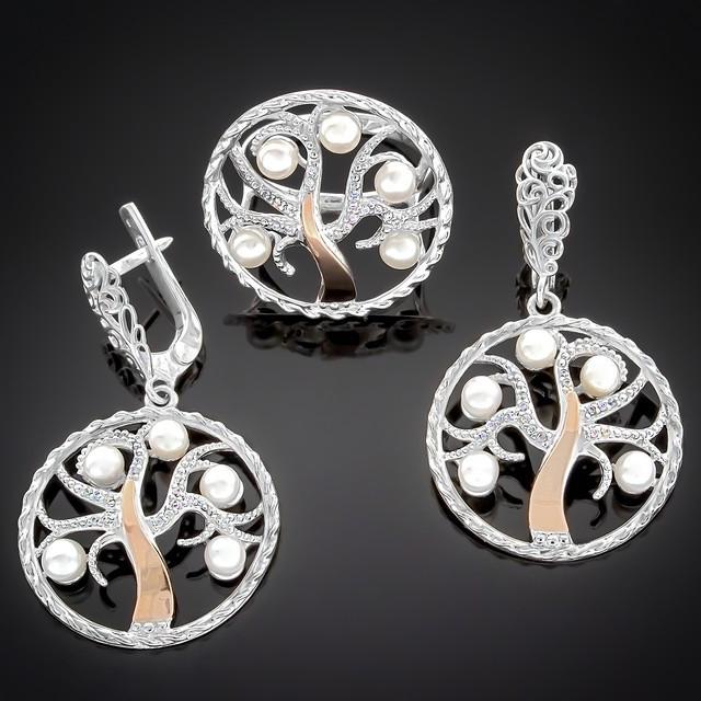 Женский комплект украшений 350 White Pearl Rhodium