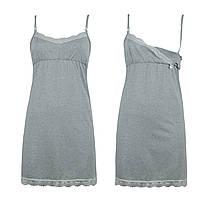 Ночная рубашка для беременных и кормящих мам хлопковая светло-серая с кружевом