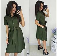 Платье-рубашка однотонное женское ХАКИ (ПОШТУЧНО)