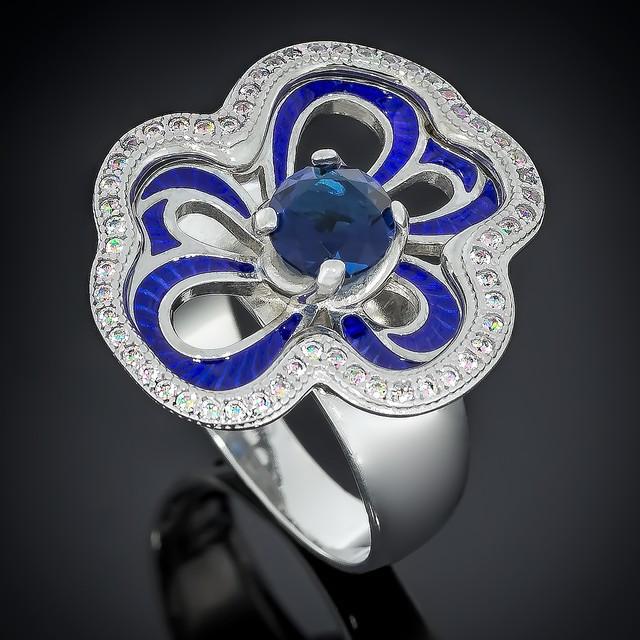 Колечко 462 Альпініт Синий Rhodium