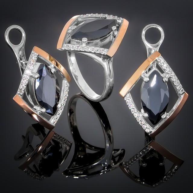 Женский комплект украшений 379 Черный-Белый Rhodium