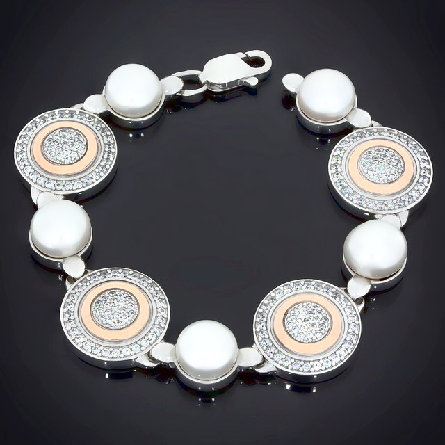Браслет 543 White Pearl Rhodium