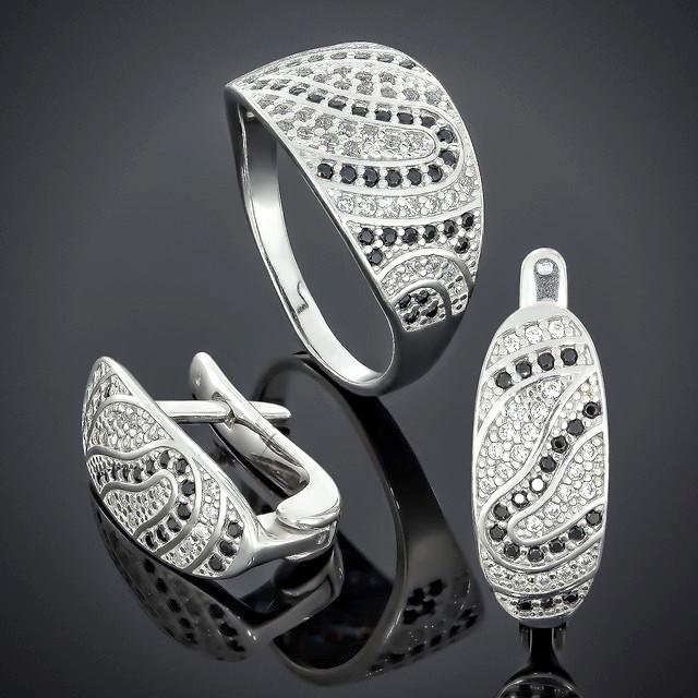 Женский комплект украшений 542 White Black Rhodium