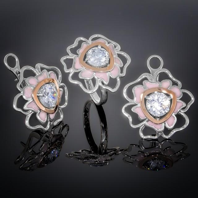 Женский комплект украшений 374 Светло-Розовый Rhodium
