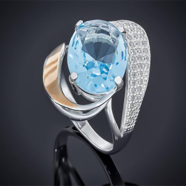 Кільце 509 Альпініт Блакитний Rhodium