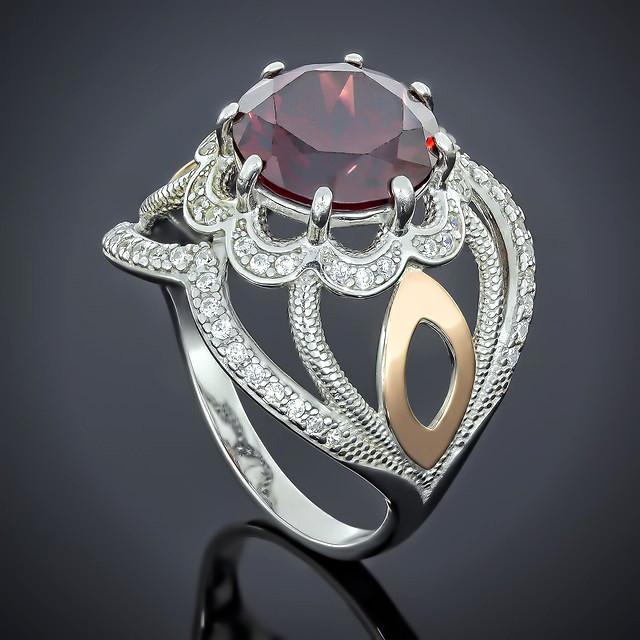 Кольцо 508 Альпініт Красный Rhodium
