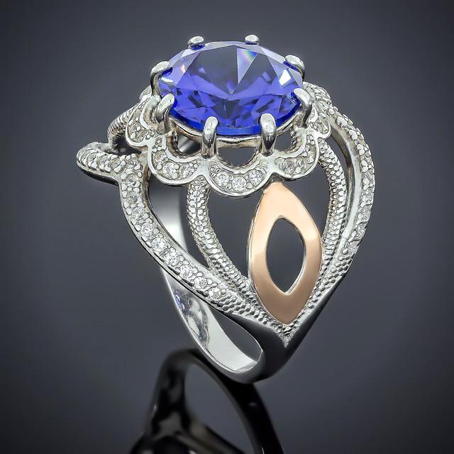Кольцо 508 Альпініт Синий Rhodium