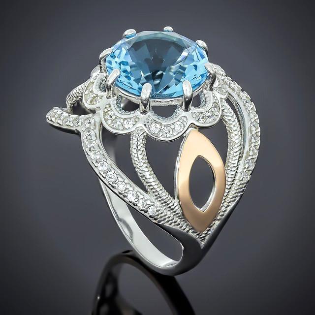 Кольцо 508 Альпініт Голубой Rhodium