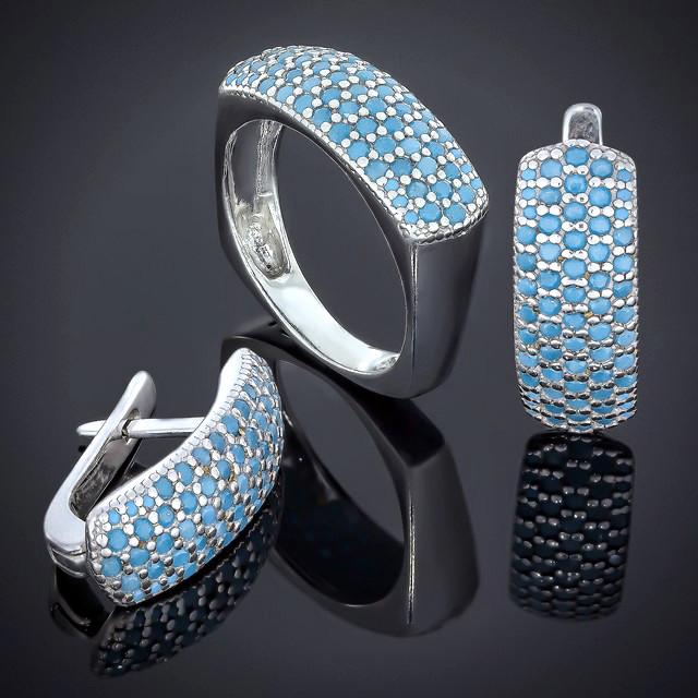 Женский комплект украшений Blue 505 Rhodium