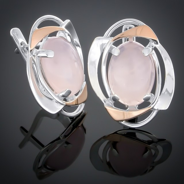 Серьги 242 Кварц розовый Rhodium