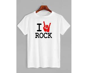 Футболка с принтом I love rock